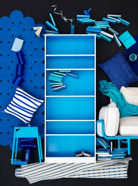 Blue and white Billy bookcase