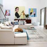 White living room with artwork